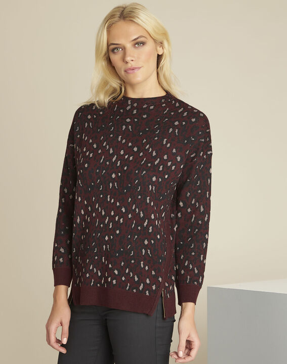 Bestial Bordeaux animal print pullover (1) - 1-2-3