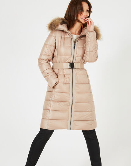 Louna long beige puffer jacket with faux fur (2) - 1-2-3