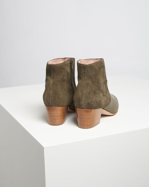 Kendal dual-fabric heeled ankle boots in khaki (1) - 1-2-3
