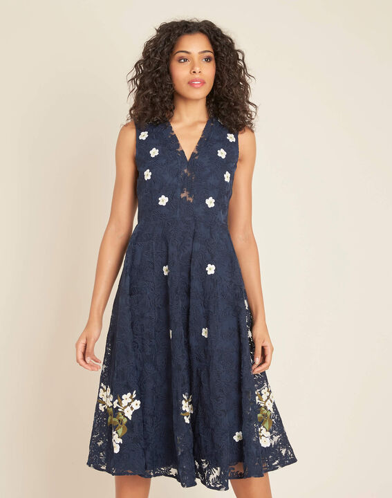 Iris tulle embroidered dress in navy (3) - 1-2-3