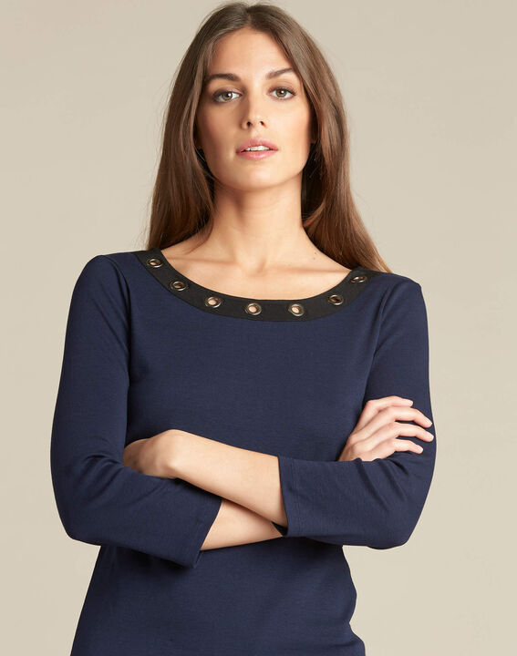 Basic navy blue T-shirt with rounded neckline and eyelets (1) - 1-2-3