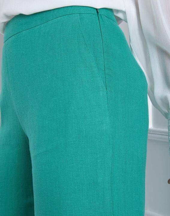Pantalon vert court en lin Ghazala (3) - Maison 123