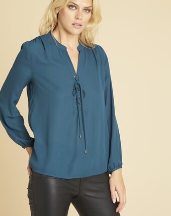 Cheryl emerald blouse with lacing and eyelets on the neckline emerald.