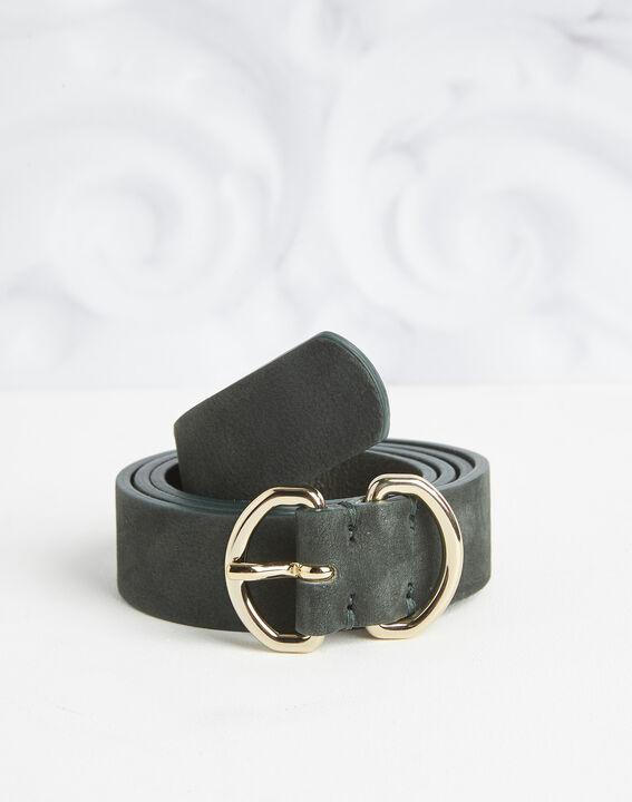 Roxana velvet-effect wide green leather belt PhotoZ | 1-2-3