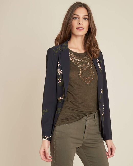 Demoiselle black floral printed fitted jacket (2) - 1-2-3