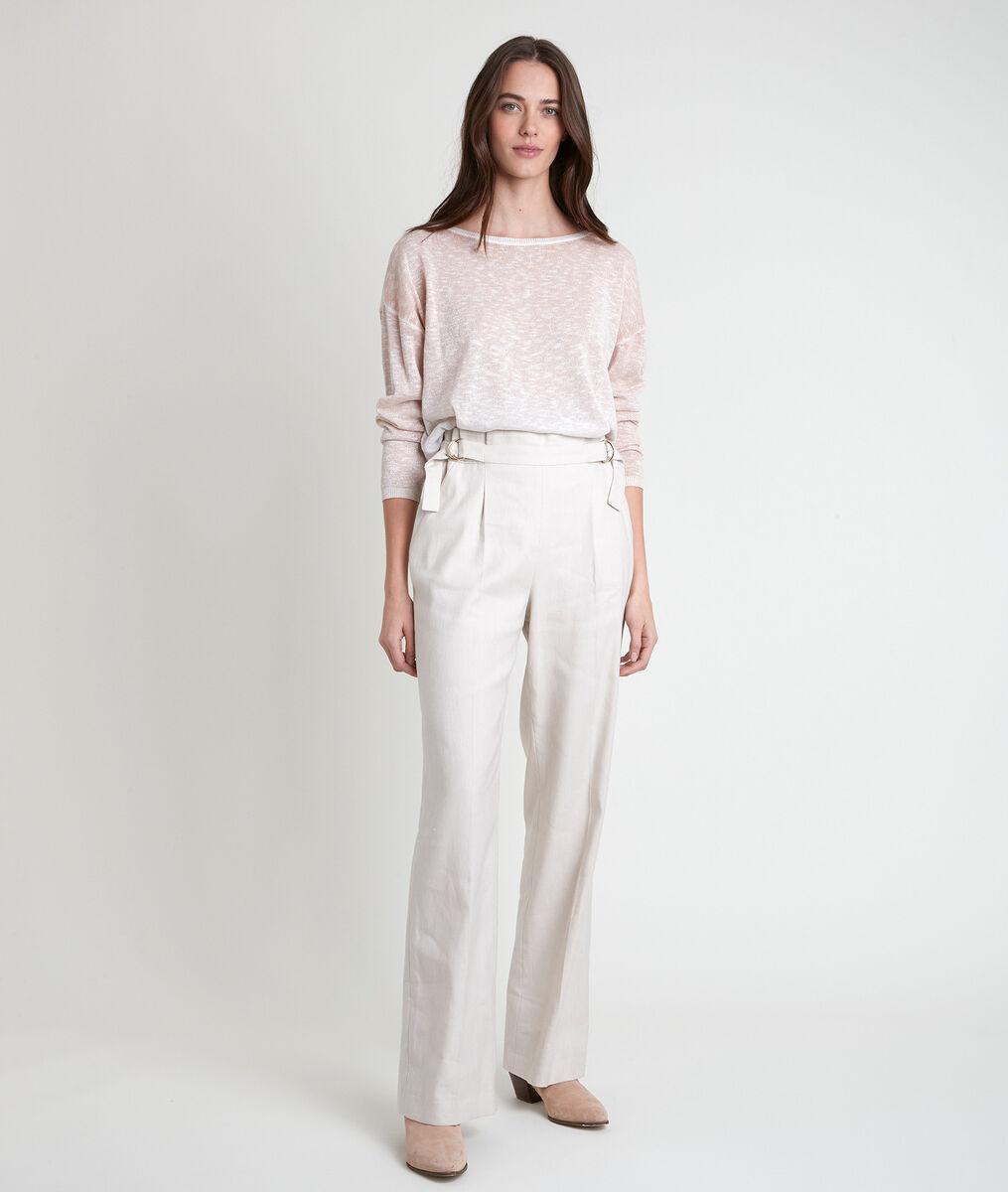Pantalon large en lin mélangé écru Filipo PhotoZ | 1-2-3