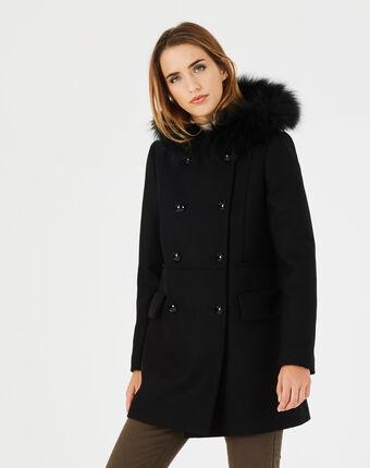 Manteau noir droit col fourrure joe noir.