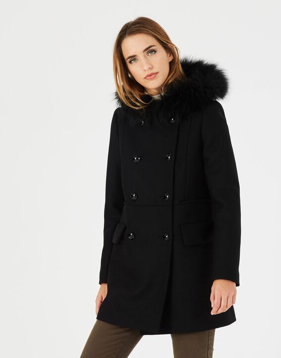manteau noir droit col fourrure joe 123. Black Bedroom Furniture Sets. Home Design Ideas