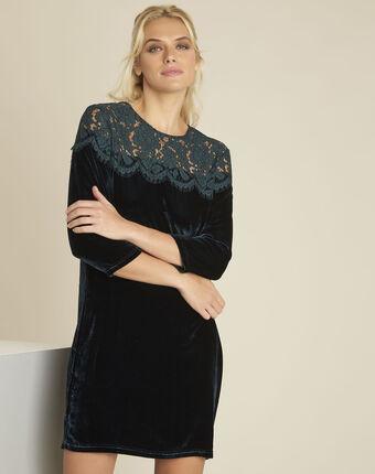 Donkergroene jurk van fluweel en kant naty cypres.