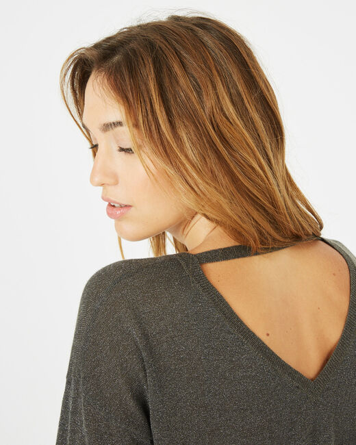 Phoenix shiny khaki sweater with open back (2) - 1-2-3