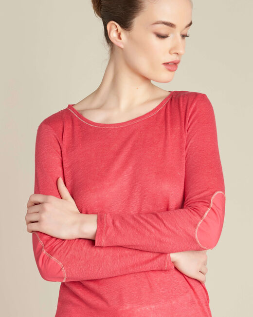 Elin fine gooseberry T-shirt in linen with golden topstitching (1) - 1-2-3
