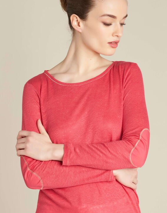 Elin fine gooseberry T-shirt in linen with golden topstitching PhotoZ | 1-2-3