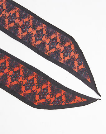 Fay graphic print silk tie belt dark red.