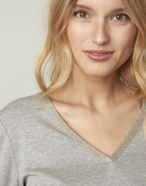 Graues T-Shirt mit V-Ausschnitt Lurex Etincelante (4) - Maison 123