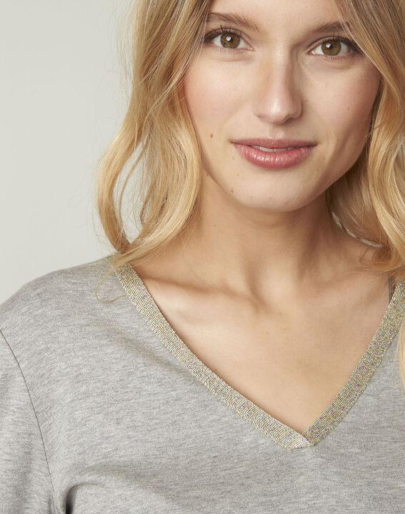 T-shirt gris encolure V lurex Etincelante (4) - Maison 123