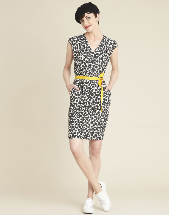 Dallas leaf-print dress with grosgrain belt (2) - 1-2-3