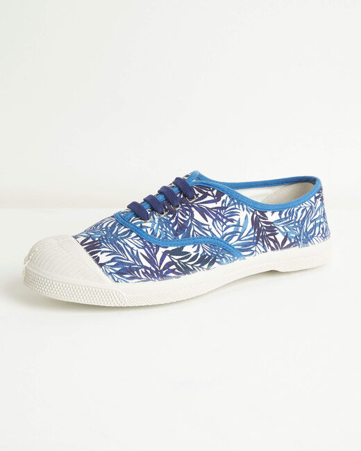 Kassandre blue cotton trainers with leaf print (2) - 1-2-3