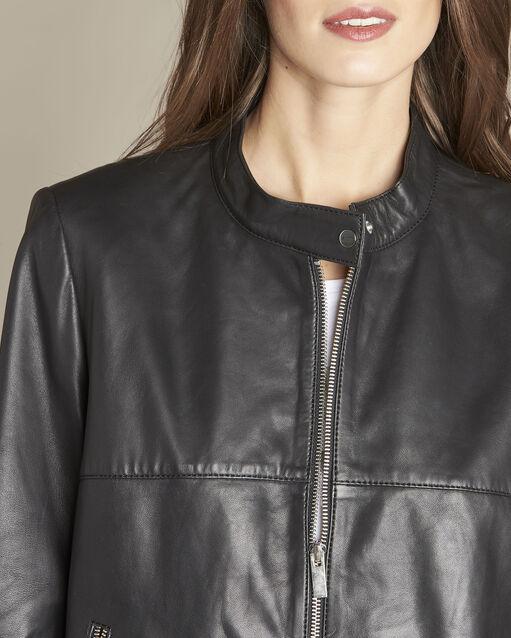 Veste noire courte en cuir Tibo (2) - 1-2-3