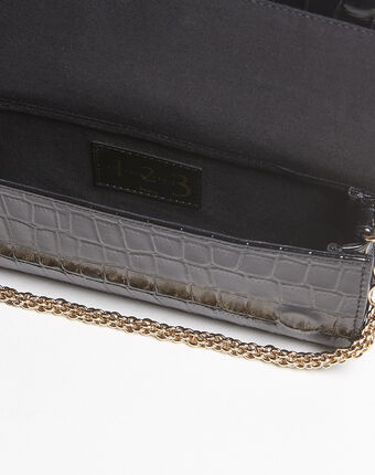 Isabelle crocodile effect black leather clutch bag black.