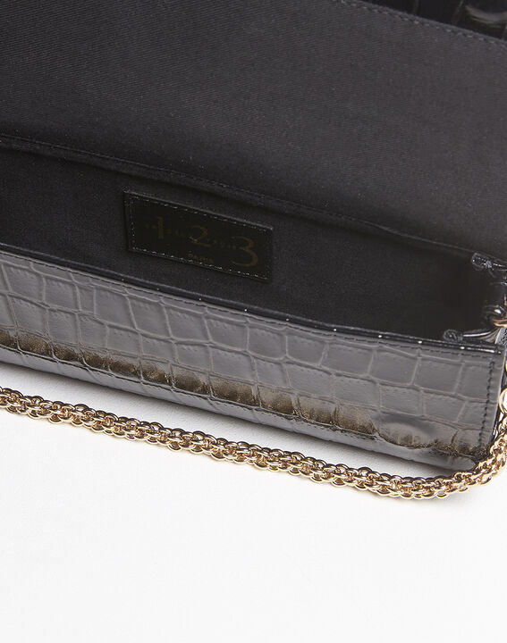 Isabelle crocodile effect black leather clutch bag (2) - Maison 123