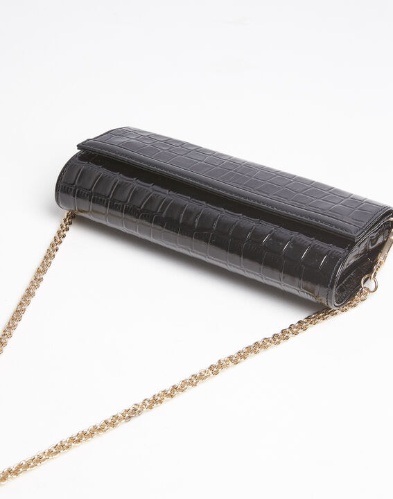 Isabelle crocodile effect black leather clutch bag PhotoZ | 1-2-3