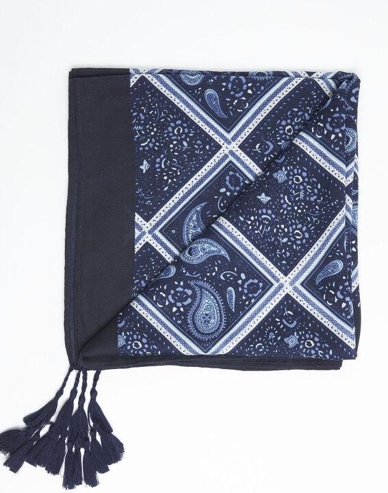 Donkerblauwe sjaal met print van kasjmier Francine (3) - 37653