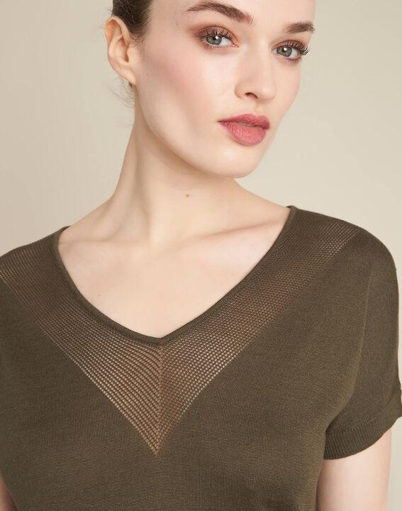 Never khaki, fine-knit sweater with openwork neckline PhotoZ | 1-2-3