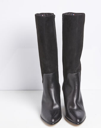 Lucie dual-material black leather heeled boots black.