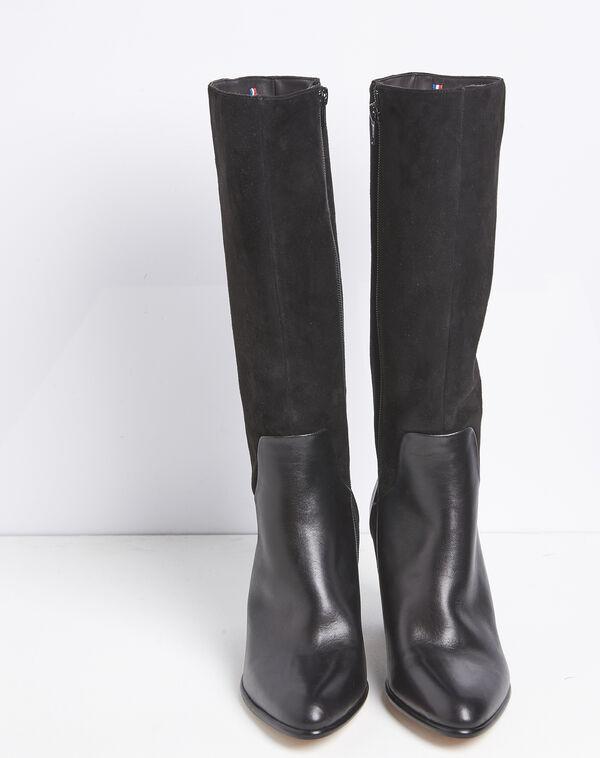 Zwarte leren laarzen met hak van twee soorten materiaal Lucie (2) - 37653