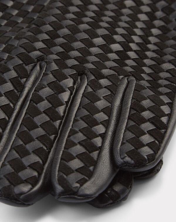 Gants noirs en cuir tissés zoé à