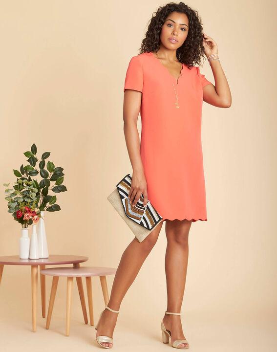 Indira straight-cut coral crepe dress (2) - 1-2-3