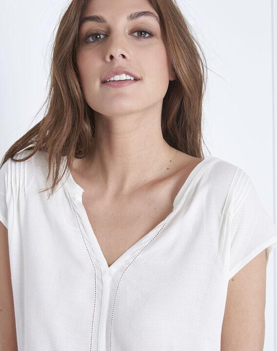Beige Bluse aus zwei Materialien mit tunesischem Kragen Vanissa (3) - Maison 123
