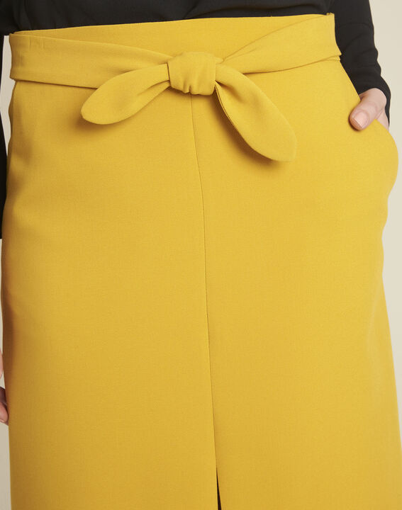 Agathe yellow skirt with knot and slit (3) - 1-2-3