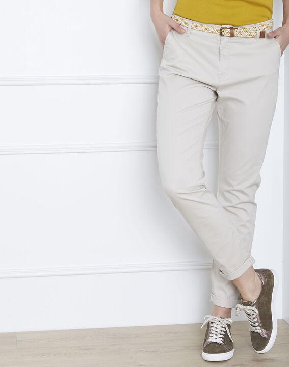 Beige chino broek met decoratieve riem Francis PhotoZ | 1-2-3