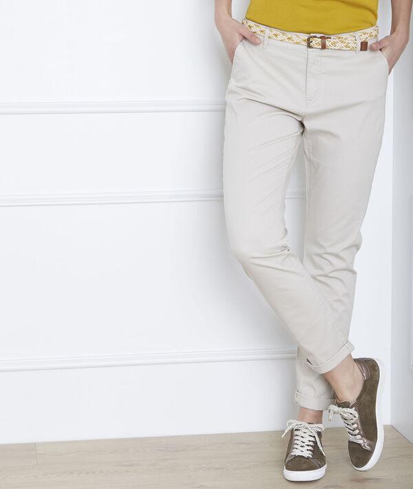 Pantalon beige chino ceinture fantaisie Francis PhotoZ | 1-2-3