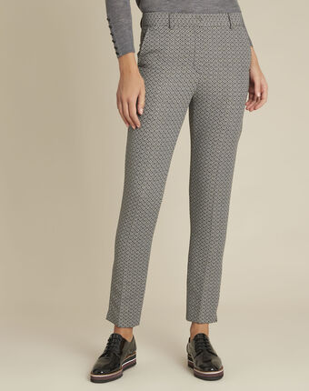 Pantalon cigarette jacquard hindy anthracite.