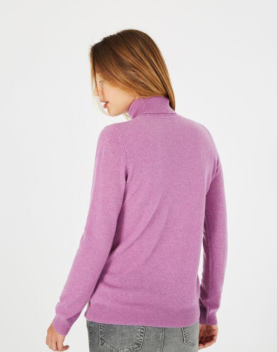 Pull violet col roulé en cachemire Perceneige (4) - 1-2-3
