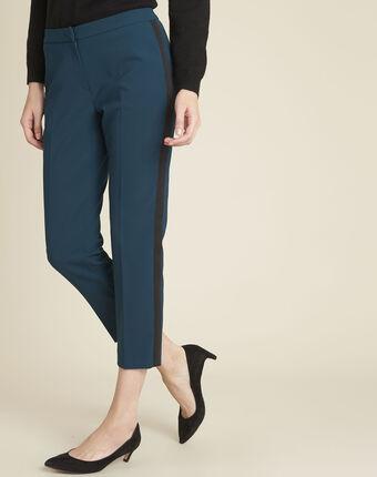 Donkergroene broek met zijdelingse band van microvezel suzanne cypres.