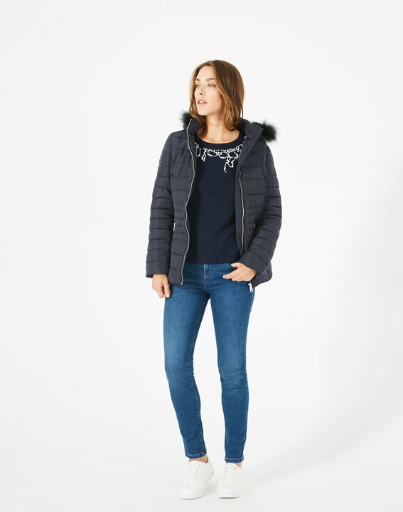 Rosie short navy blue puffer jacket with hood PhotoZ | 1-2-3