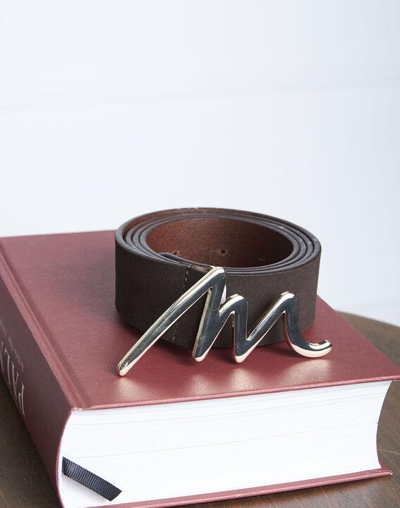 Ceinture en cuir marron avec boucle M Aelters PhotoZ | 1-2-3