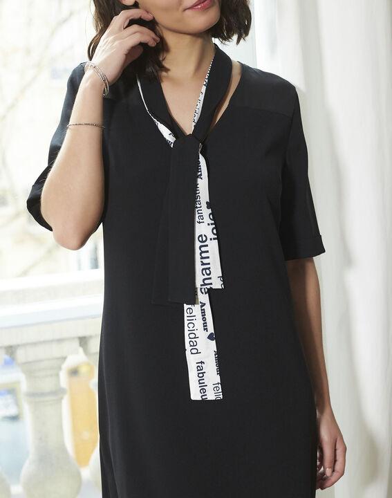 Schwarzes Kleid mit Schleife aus Kreppstoff Djamila (3) - 1-2-3