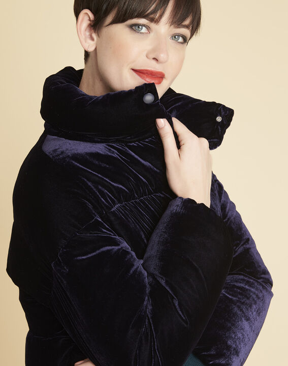 Pam navy quilted jacket in velour (3) - Maison 123