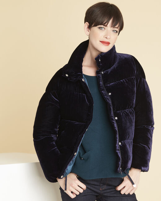 Pam navy quilted jacket in velour (2) - 1-2-3