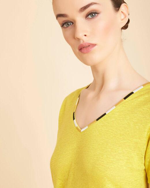Tee-shirt anis encolure fantaisie en lin Elin (2) - 1-2-3