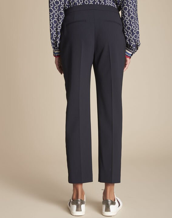 Suzanne navy tailored trousers with horizontal panel (4) - 1-2-3