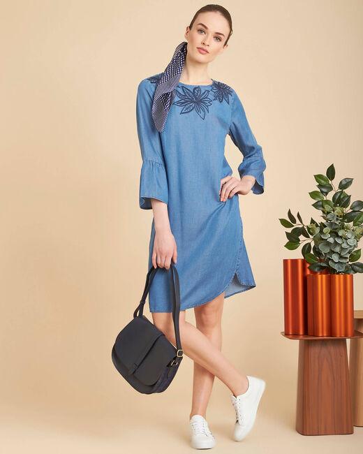Besticktes indigoblaues Kleid mit Pagodenärmeln Portorico (1) - 1-2-3