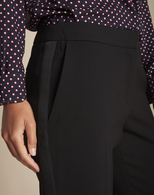 Suzanne black trousers with a microfibre sideband (2) - 1-2-3