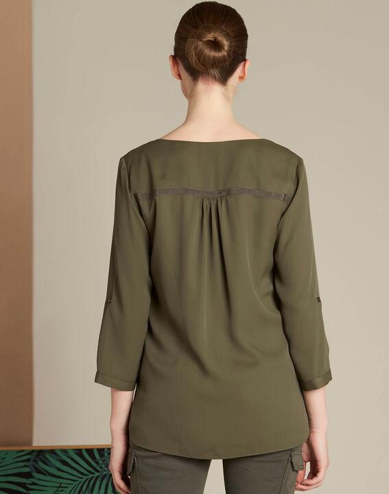 Khakifarbene Bluse mit Reißverschluss-Ausschnitt Galia (4) - 1-2-3