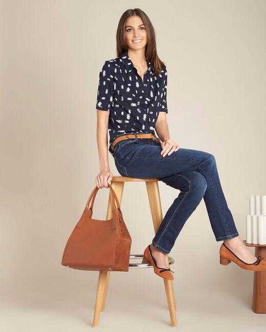 Marineblaues Polo-Shirt mit Ananas-Print Enanas (1) - 1-2-3