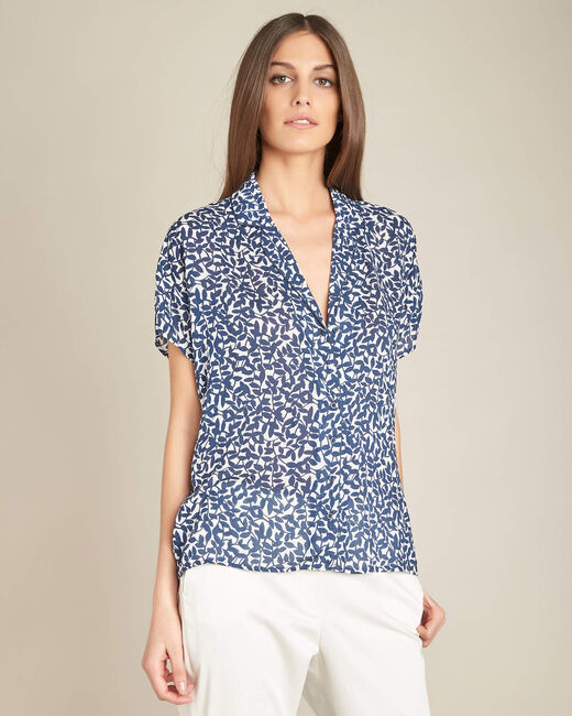 Gisors navy blue blouse with floral print (2) - 1-2-3